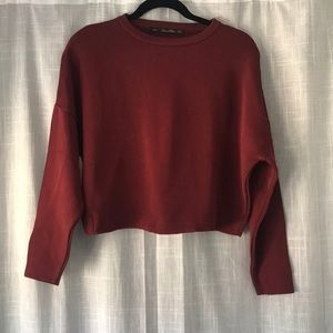 Zara Burgundy Drop Shoulder Knit